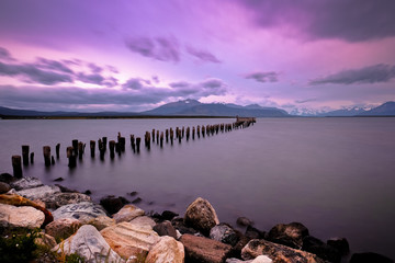 Pier ruins at sunset, Puerto Natales, Patagonia, Ultima Esperanza Province, Chile