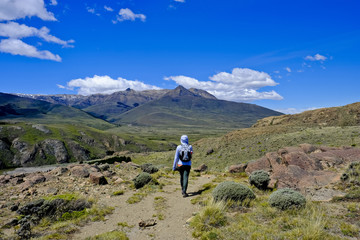 Hiker in scenery with mountains, El Chalten, Santa Cruz Province, Patagonia, Argentina