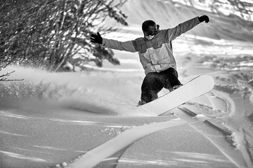 Snowboarder in black and white, Vermont, USA