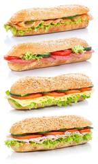 Baguette Brötchen belegt mit Schinken Salami Käse Lachs Fisch Sandwich frisch übereinander freigestellt Freisteller
