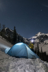 Woman camping in mountains, Silverton, Colorado, USA