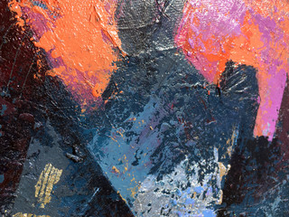Sunset abstract painting art with natural acrylic textures on the canvas.