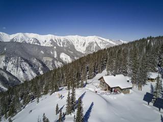 Aerial view of skiing couple, Aspen, Colorado, USA