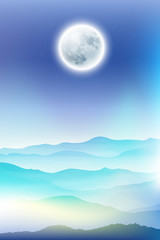 Background with fullmoon and mountains in the fog. EPS10 vector.