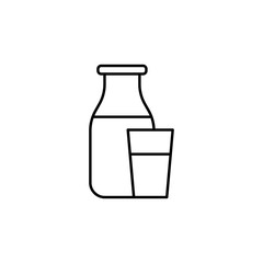 a bottle of milk and a glass icon. Element of food icon for mobile concept and web apps. Thin line a bottle of milk and a glass icon can be used for web and mobile