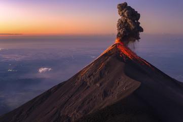 Fuego Volcano erupting at sunrise, Guatemala