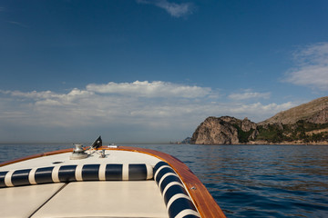 A Boat Trip along the beautiful Italian Amalfi Coast on a sunny Day
