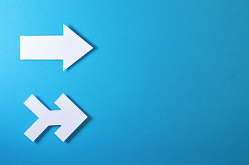 two arrows template with blue background