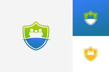 Family Shield Logo Template Design Vector, Emblem, Design Concept, Creative Symbol, Icon
