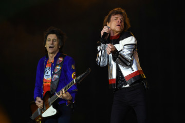 Mick Jagger and Ronnie Wood of The Rolling Stones perform at London Stadium in London