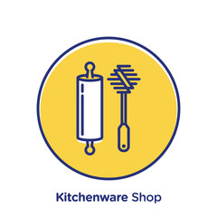 Kitchenware related offset style vector illustration.