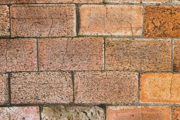 Wall of big brown bricks, close up