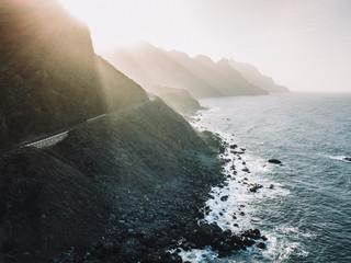 Elevated view of coastal road in Anaga, Tenerife, Spain