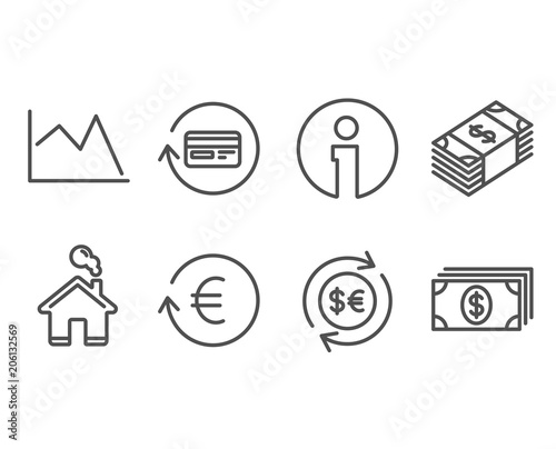 Set Of Money Currency Exchange And Refund Commission Icons Line Chart Banking Signs Cash Change Reshresh Rate Cashback Card