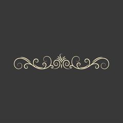 Calligraphic decorative element. Page decoration. Swirls, flourish curls. Design element. Greeting card design. Vector.