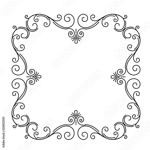 Ornate flourish frame. Page decoration.Floral vintage pattern. Swirls, Curls, Scroll elements. Wedding invitation, Save the date. Vector.