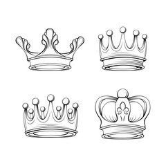 Crowns set. Royal symbols. Tiara jewelry. Design elements collection. Vector.