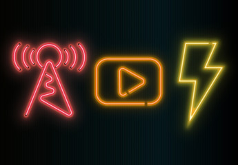 Neon Media Symbols Overlay Set