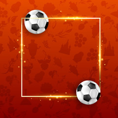 Red Russia world cup football background with balls.