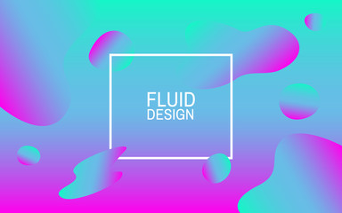 Fluid bubbles. Colorful abstract background. Geometric shapes. Bright design for web, poster, flyer. Vector illustration