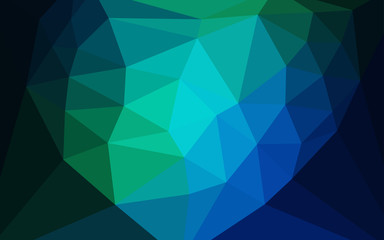 Dark Blue, Green vector gradient triangles texture with a heart in a centre.