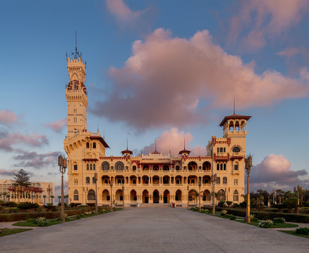 Front view of the royal palace at Montaza public park at sunset time, Alexandria, Egypt