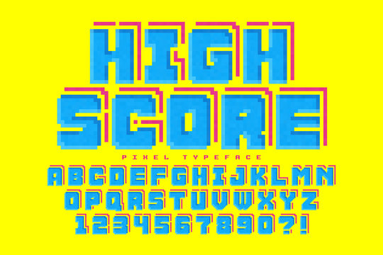 Pixel vector font design, stylized like in 8-bit games