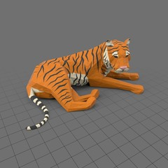 Stylized tiger lying down