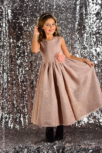 78e600d47a60 Fashion and beauty, little princess. Little girl in fashionable ...