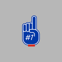 Foam Hand, Red Finger, Number One # 1 Fan Glove, Sport Concept Supporting Sign, Isolated on grey Background, Hand Drawn Vector 3D Illustration