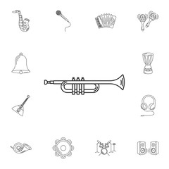 Musical trumpet icon. Simple element illustration. Musical trump