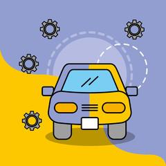 car service maintenance painting work vector illustration