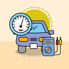 car maintenance electrical service speedometer vector illustration
