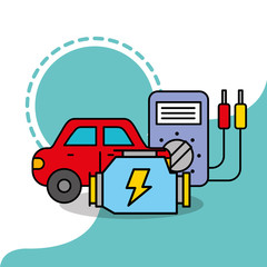 car service maintenance electrical radiator vector illustration