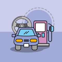 car service maintenance steering wheel and pump gasoline vector illustration