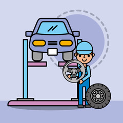 employee repairing car service steering wheel vector illustration