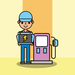employee car service pump gasoline station and battery vector illustration