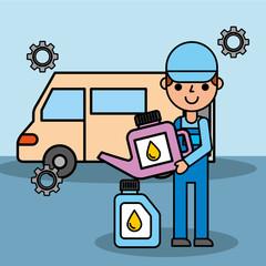 employee car repair maintenance oil container vector illustration