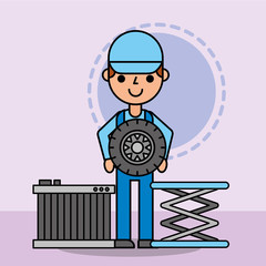 worker mechanic holding wheel and radiator car service vector illustration