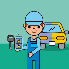 employee with remote key system car service vector illustration
