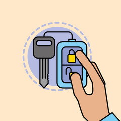 hand holding remote key car service maintenance vector illustration