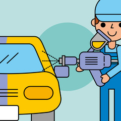 employee painting machine car service vector illustration