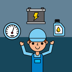 employee battery speedometer and oil car service vector illustration