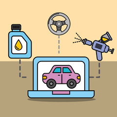 diagnostic technologic car service maintenance vector illustration