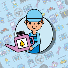 worker holding engine oil car service maintenance vector illustration