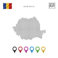 Vector Dotted Map of Romania. Simple Silhouette of Romania. The National Flag of Romania. Multicolored Map Markers