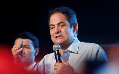 Colombian presidential candidate German Vargas Lleras speaks to supporters during a campaign rally in Bogota