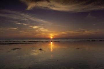 Silhouette sunset on the beach