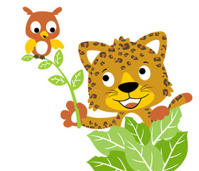 Nice leopard and owl cartoon