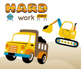 vector cartoon illustration of construction vehicles